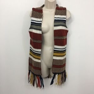 Vintage boho striped knit fringe open front vest